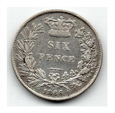 Great Britain 6 Pence 1866 (Sixpence) (92.5% Silver) Coin