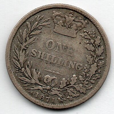 Great Britain 1 Shilling 1871 (92.5% Silver) Coin