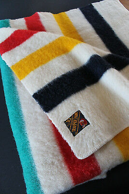 Vintage Eatons 1920's Trapper Point Hudson Bay Style Felted Wool 4 point Blanket