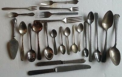 23pc Mixed Lot Silver-plate Flatware Silverware Spoons, Forks, Knifes