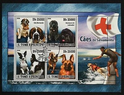 Hunde Dogs Chiens Animals Tiere Fauna S.Tome W.Principe 2008 KB Sheet