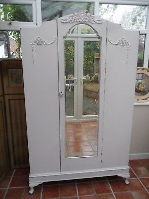 Pretty Vintage Painted French Deco Style Mirrored Arched Wardrobe Shabby Chic