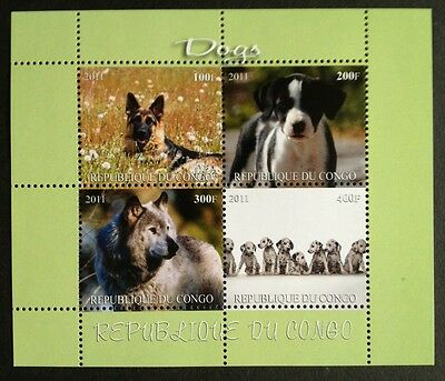 Hunde Dogs Chiens Animals Tiere Fauna Congo 2011 MNH KB Sheet