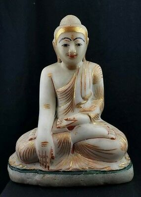 Antique 18th/19th Large Marble Gilt Buddha Burma Burmese Polychrome Stone Statue
