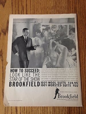 """1962 Brookfield Clothing ad with showgirls,  Life Magazine Print Ad 10.5""""x14"""""""