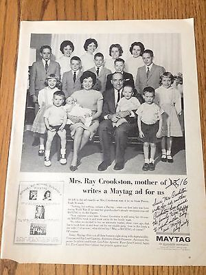 """1963 Maytag ad featuring mother of 16 from Life Magazine, Print Ad 10.5""""x14"""""""
