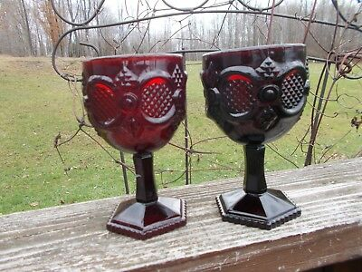 Avon Cape Cod 1876 Ruby Red Water Goblets Pre-owned