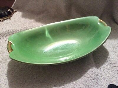 Vintage Green Lustre Boat Dish - Maling, England