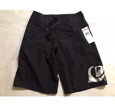 QUIKSILVER BOYS BOARD SHORTS  SOLID SWIM SHORTS BLACK size 8