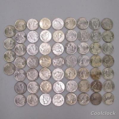 60 Pc Lot Peace Silver One Dollar $1 Coins Old Used Circulated Ungraded #AD505