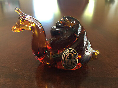 Vintage Pilgrim Glass Amber Art Glass Snail Paperweight Figurine w/Foil Label