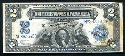 """Fr. 258 1899 $2 Two Dollars """"Mini Porthole"""" Silver Certificate Extremely Fine"""