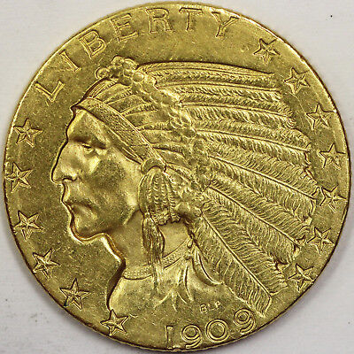 1909-D $5 Indian Head Gold US Choice Coin