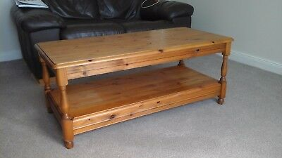 Antique Solid Pine Coffee Table with Shelf