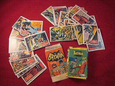 Lot of 38 1966 Batman Topps Black Bat Trading Cards with Box and Bazooka Wrapper