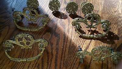 Antique Vintage Victorian Brass Dresser Drawer Pulls Very Ornate