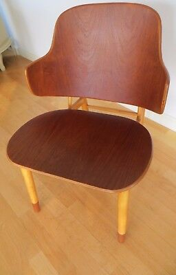 Vintage Kofod Larsen Mid Century Solid Wood Penguin Chair Made in Denmark
