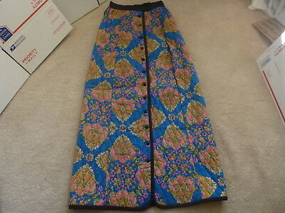 Vtg MOD Quilted Patchwork Long Maxi Skirt Sz S Paisley Blue pink bl MADE USA EUC