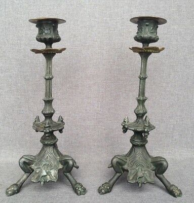 Antique pair of tripod candlesticks regule and bronze 19th century lion paws