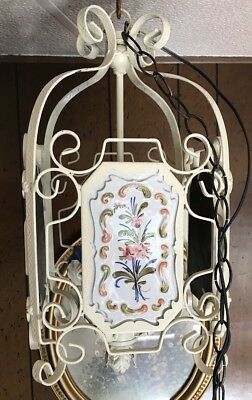 Vintage Iron 4 SIDED HANGING SWAG LAMP WITH Hand Painted Panels Shabby Chic