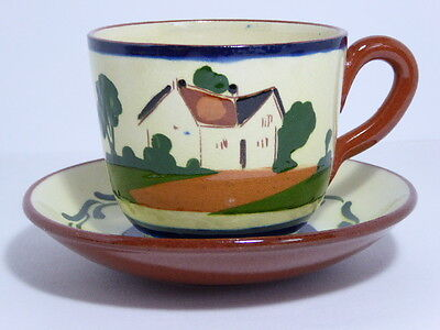 Watcombe Pottery Motto Ware Breakfast Tea Cup & Saucer Time Ripens All Things