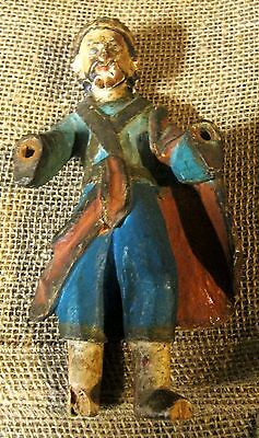 Original Antique Wood Santo Hand Painted Glass Eyes 8'' Tall