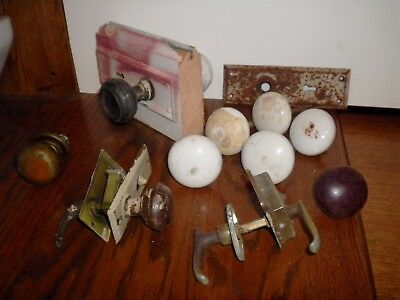 Antique Lot Of Door Knobs Handles Hardware Porcelain Metal  Brass Wood