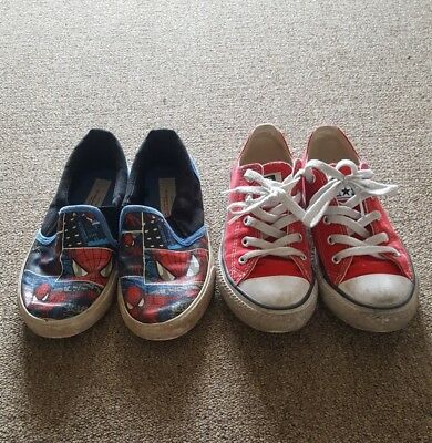 Boys shoes sz us 1 (19.5 cm) converse & spiderman (for 6,7 yrs old)