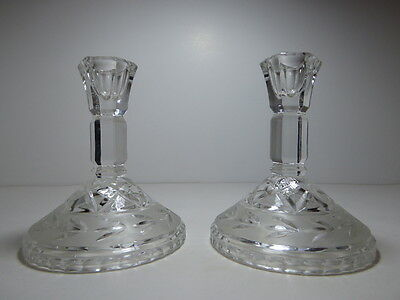 "Pair Vintage Pressed Glass Candlesticks 5"" Tall Frosted Glass with Edged Design"