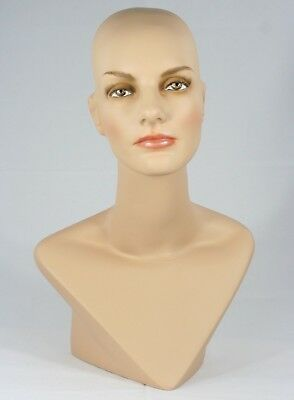 LESS THAN PERFECT #414 (#B) Female Mannequin Head Form Display with V Neck Bust