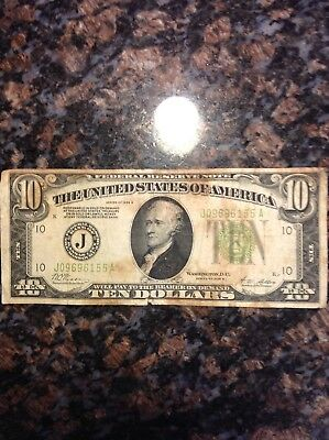 1928 10 dollar gold certificate ungraded circulated