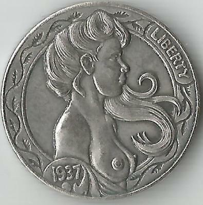 Hobo Nickel coin 1937D Five Cents Cow Zombie Skeleton/NAKED GIRL ART--PRESSED