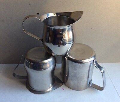 Lot of 3 Vintage STAINLESS STEEL China American Airlines CREAMERS