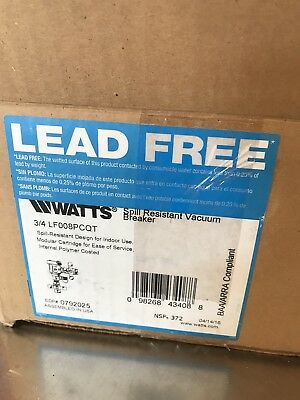 """WATTS 3/4 LF 008PCQT-3/4"""" Anti-Siphon Backflow Preventer Spill Resistant 008"""