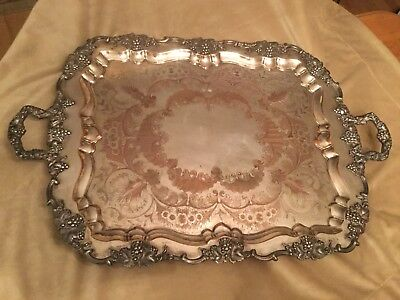 """RARE Antique LARGE 31"""" SILVERPLATE Serving TRAY Grapes HALLMARKS Handled Footed"""