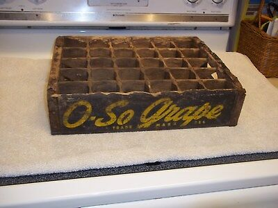 Vintage 1940's O So-Grape Wood Soda Pop Case Crate with 30 Bottle Dividers
