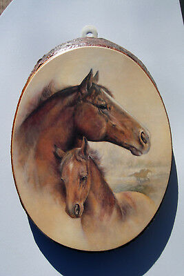 """EQUESTRIAN WOOD LOG HORSE PLAQUE 10"""" x 7"""" -WALL HANGING PICTURE RIDIN-HY RANCH"""