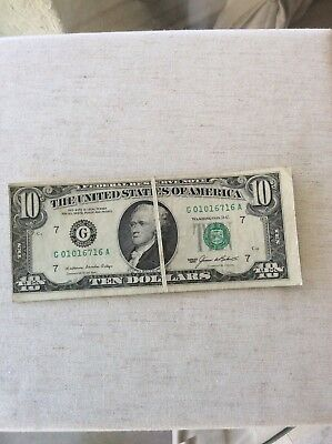 1985 $10  Dollar  Error note  fold over and miss cut rare