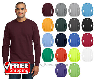 Long Sleeve T-Shirt Comfort Blend Soft Color Blank Plain Mens Tee Casual PC55LS