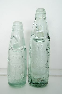 "(2) C Cobleys Aerated Water Bottles 7.5"" and 9.25"" England Wellingboro 06331"