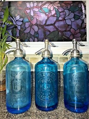 Beautiful Trio Of Blue Antique Seltzer Bottles From New York And College Point L