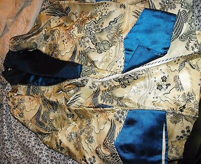 1940's Men's Embroidered Satin JAPANESE red rooster Smoking JACKET Robe M ww2