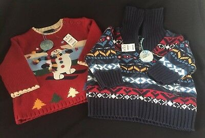 Lot 2 The childrens Place Baby Boys Snowman Holiday Sweater Sz 6-9 Mos Freeship