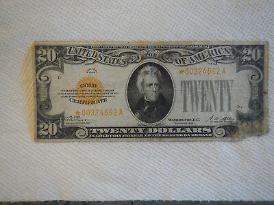 1928 20 Dollar Gold Star Paper Note
