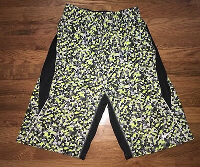 BOY'S Nike Dri-Fit CAMOUFLAGE Athletic Shorts BLACK GRAY NEON SIZE  Large
