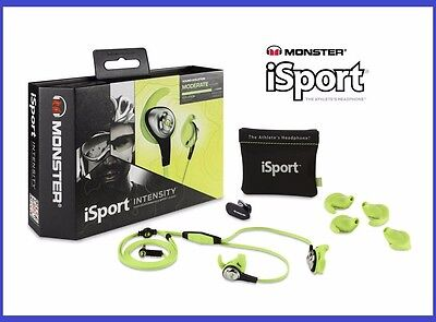 Monster iSport Intensity Sports In-ear Headphones Workout Noise Isolating Green