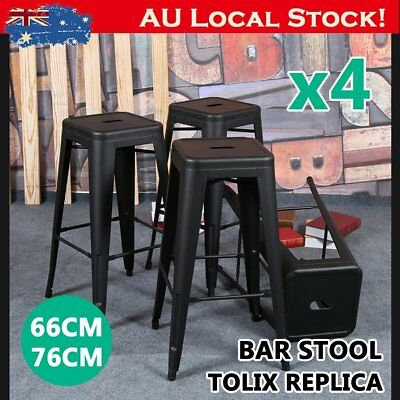 4x Replica Tolix Bar Stool Metal Steel Kitchen Cafe Home Dining Chair 66/76cm FD