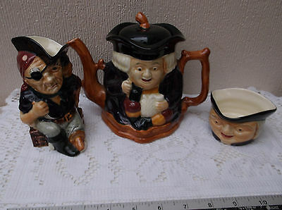 Vintage Shorter & Sons Teapot, Long John Silver jug and Toby open sugar bowl