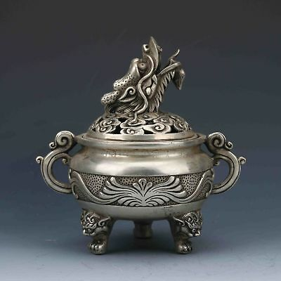 Chinese Tibetan Silver Hand Carved Incense Burner &dragon Lid Zrf