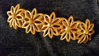 Vintage Anne Klein Signed Flowered Barrette Hair Clip In Gold Tone